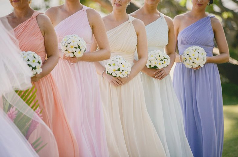 mismatched bridesmaids dresses that are the same style but different colors