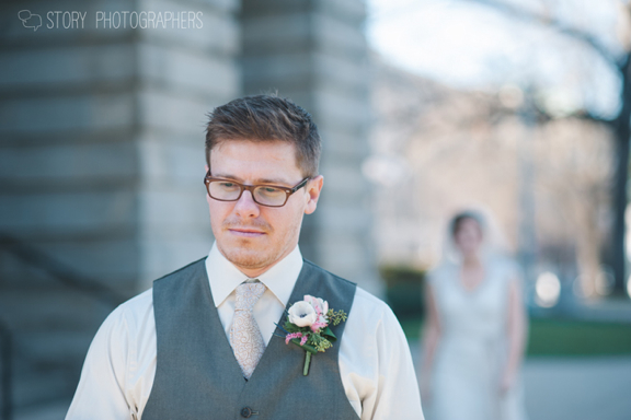 Groom Waiting for First Look