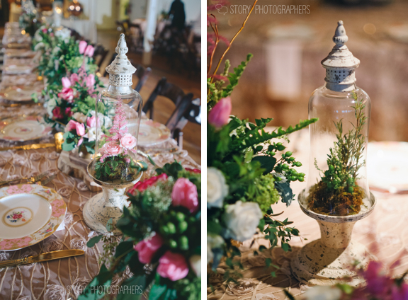 Pink Green and Gold Wedding Centerpieces