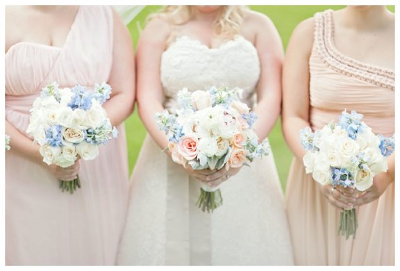 Peach and Blue Bouquets