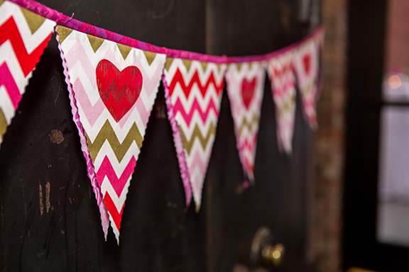 Red Pink and Gold Bunting