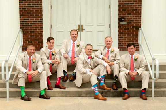Groomsmen with Superhero Socks