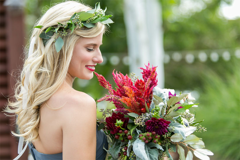 Southern Bridemaid with Red Bouquet