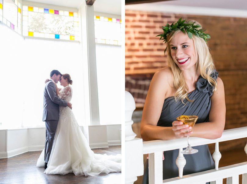 couple dance bridesmaid balcony