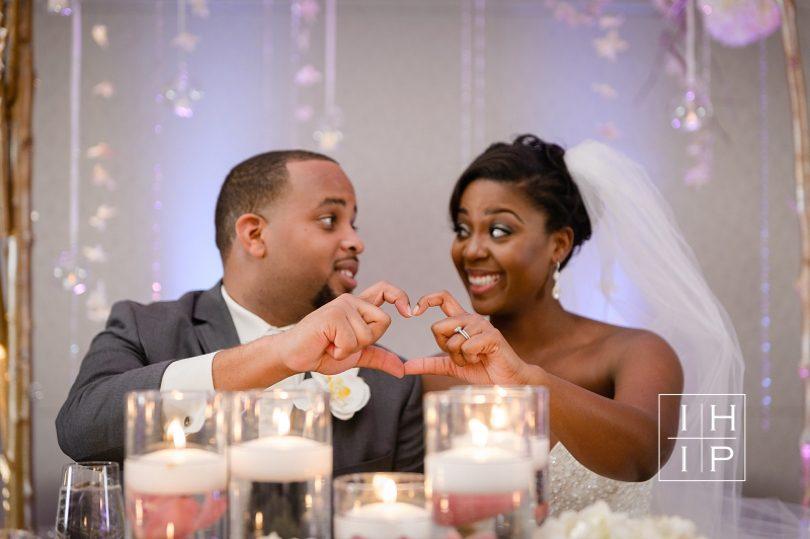 Creative bride and groom wedding photo at Renaissance Raleigh North Hills