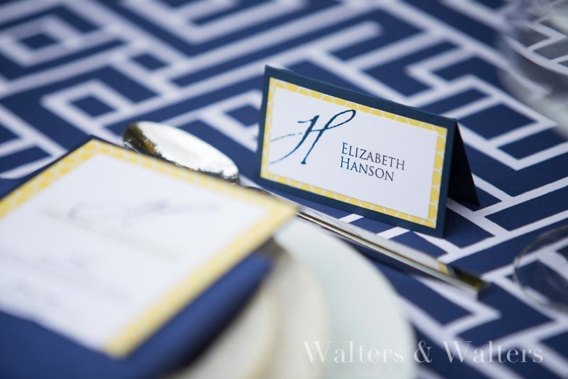 Navy blue and yellow place cards