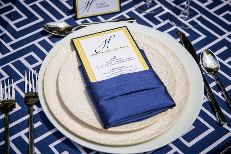 Navy blue wedding table setting
