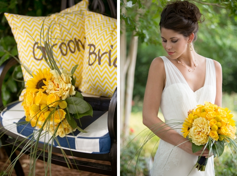 Yellow bride and groom monogramed pillow and yellow bouquet