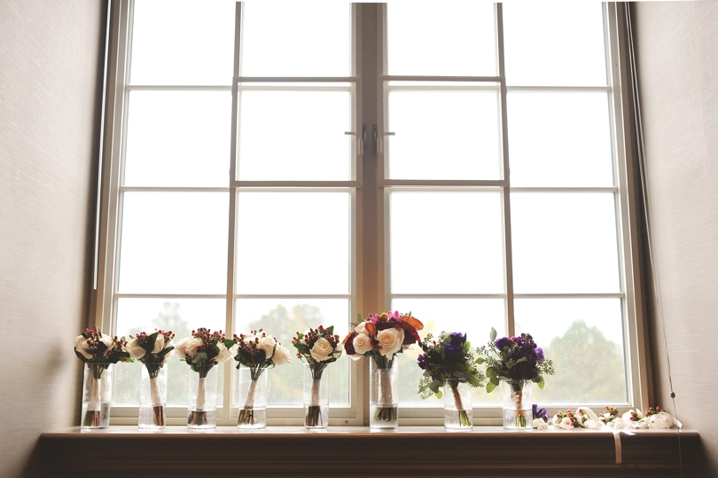 Bridesmaids and bridal bouquets in NC