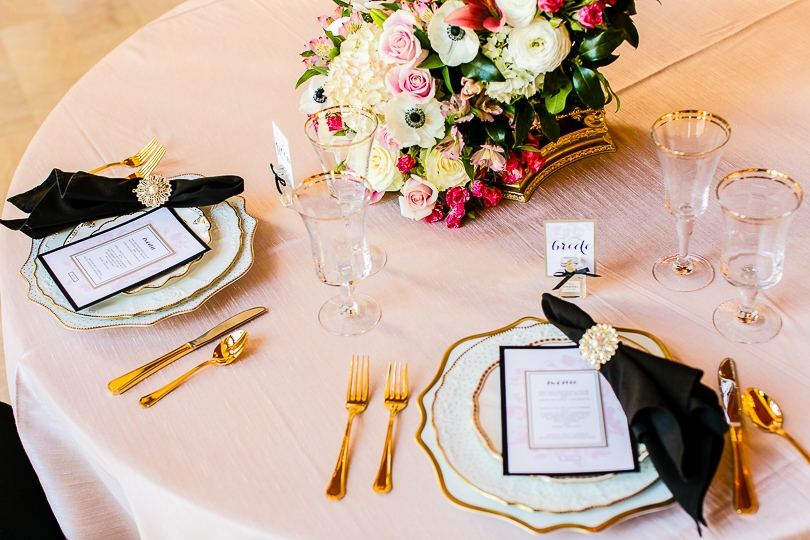 Elegant black and gold placesetting