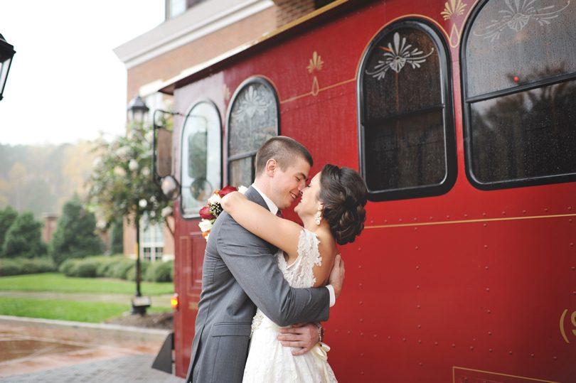 Fall wedding with a trolley