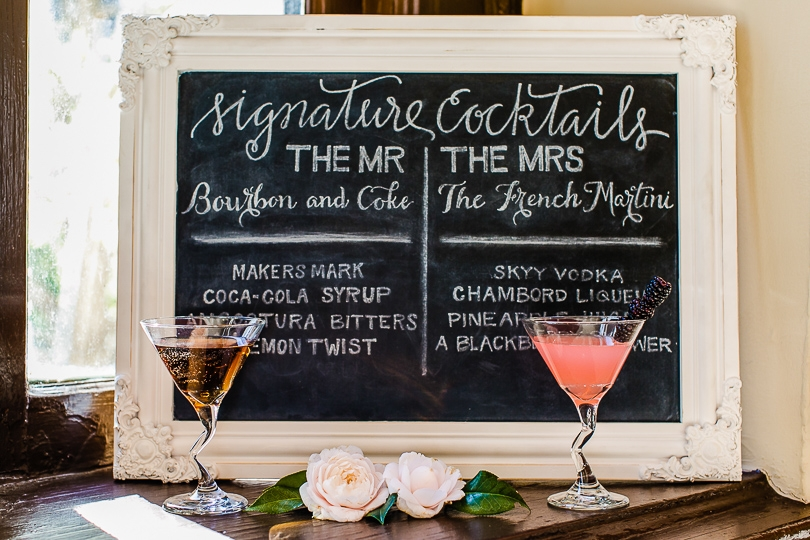 His and hers cocktails at wedding