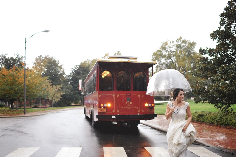 Rainy day wedding photography in NC