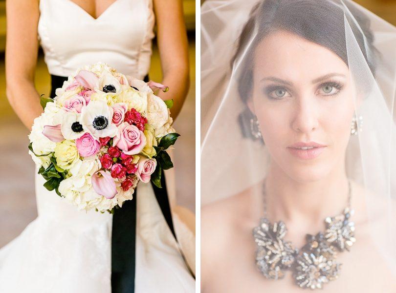 Striking elegant bridal veil and bouquet