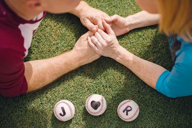 Ballpark engagement session in Durham, NC