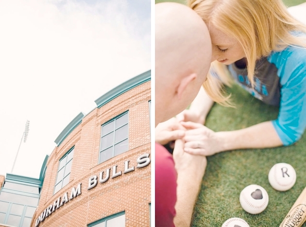 Ballpark themed engagement session in NC
