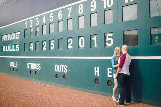 Baseball park engagement session