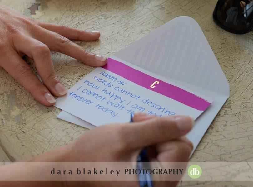 Bride writes note to groom