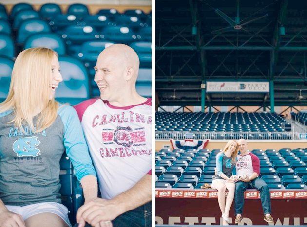 Fun engagement photo session in the Durham Bulls Stadium