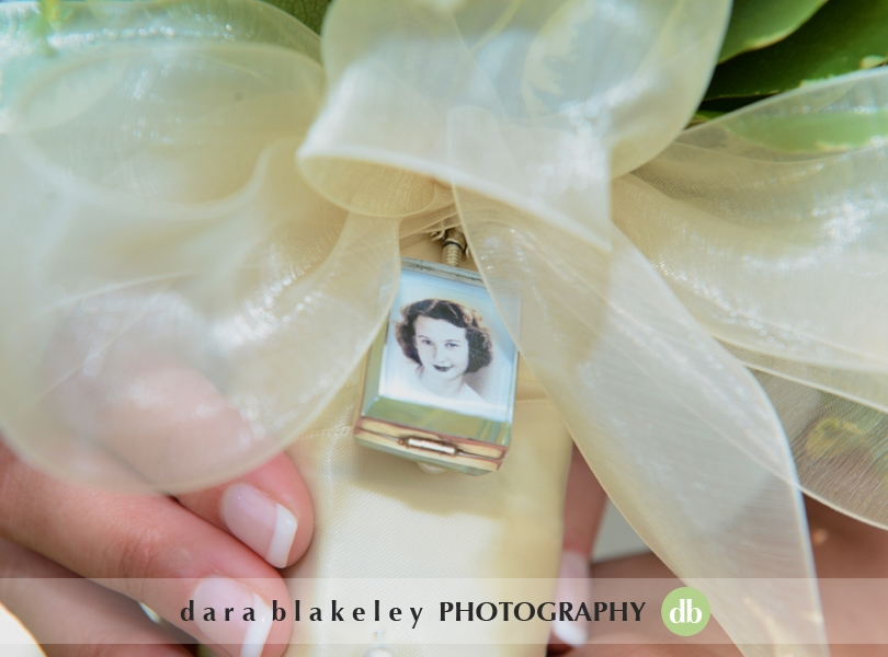 Grandmother picture on bridal bouquet