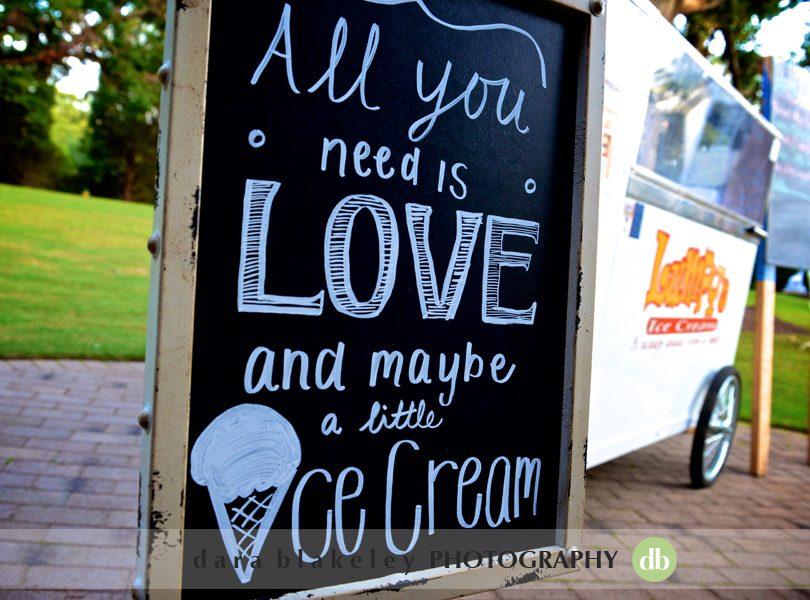 Ice cream cart at NC wedding