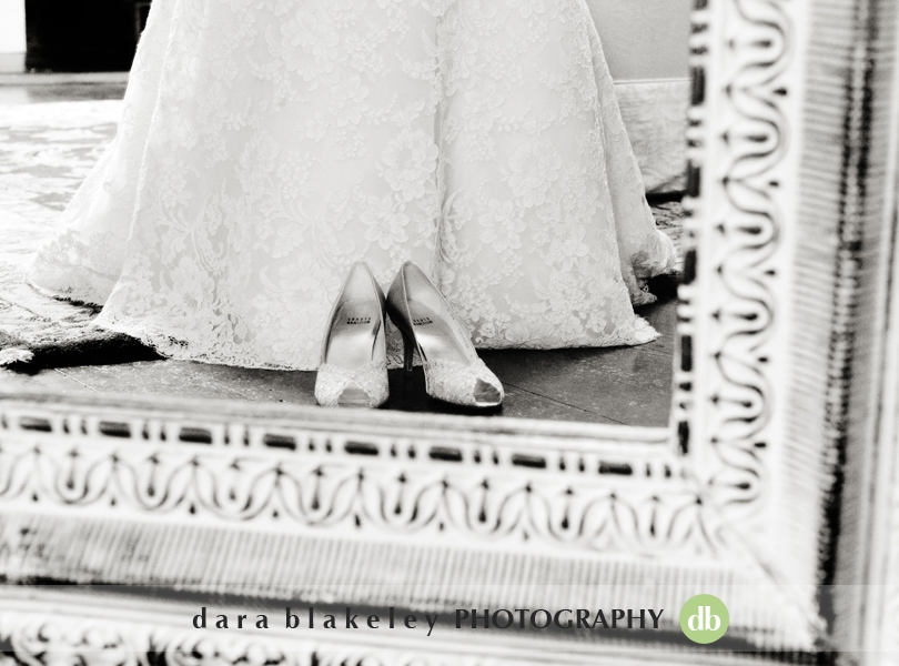 Lace wedding dress and shoes