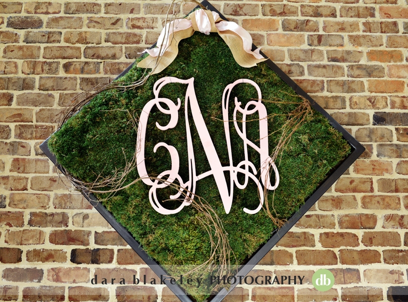 Monogrammed rustic wedding decor
