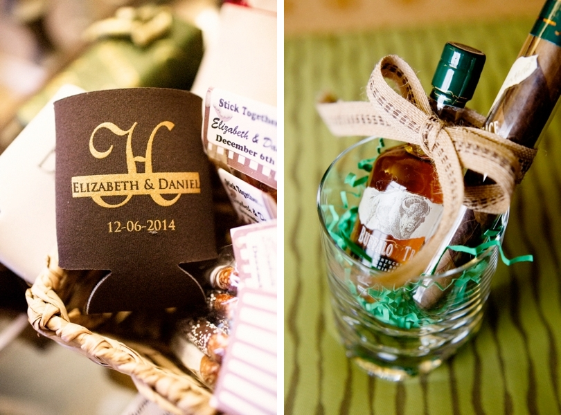 Personalized coozies and cigar wedding favors