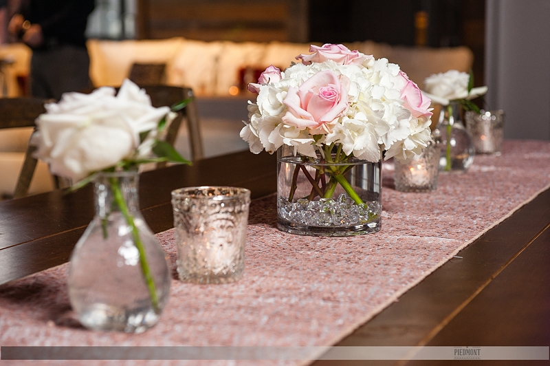 Pink and white table decor