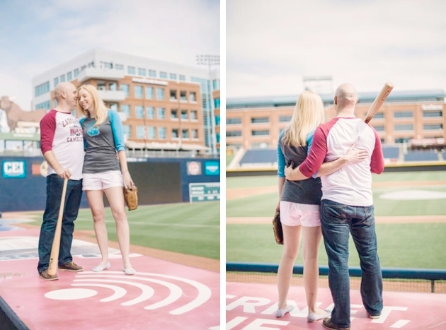 Red Boat Photography engagement session in Durham Bull's Ballpark