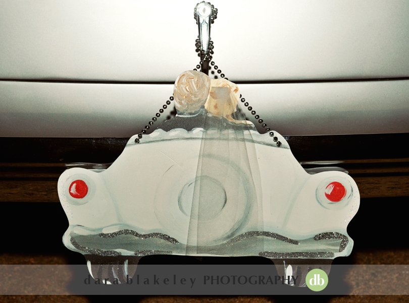 Vintage car wedding decor