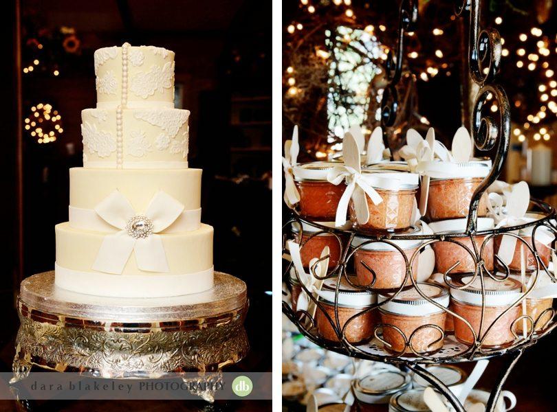Wedding cake and honey jars as favors