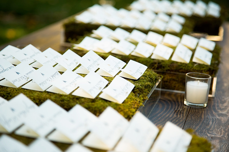 Place cards on rustic wedding display
