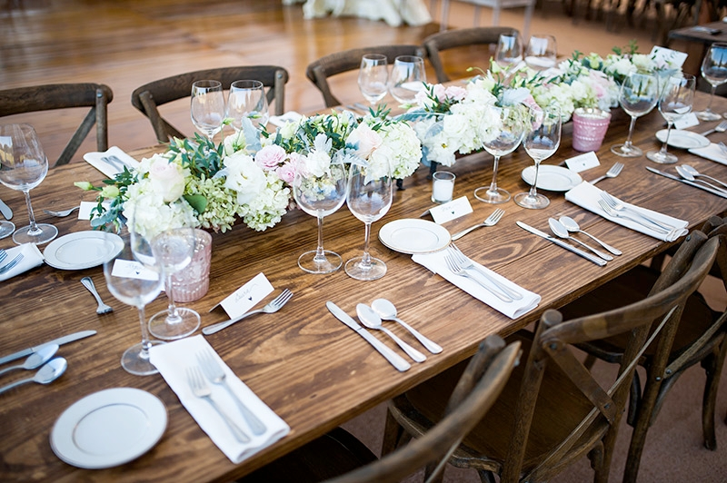 Rustic table setting at Southern outdoor wedding