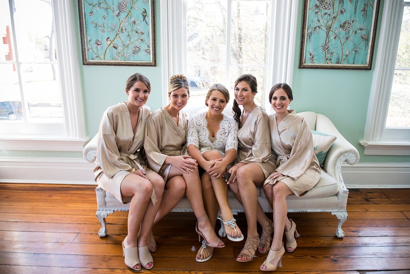 Bride and bridesmaids at Merrimon Wynne House