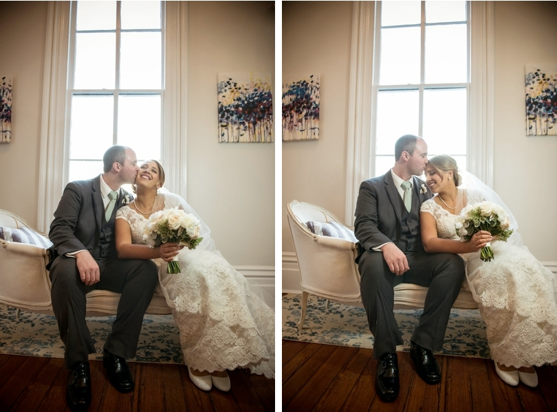 Bride and groom at Merrimon Wynne House