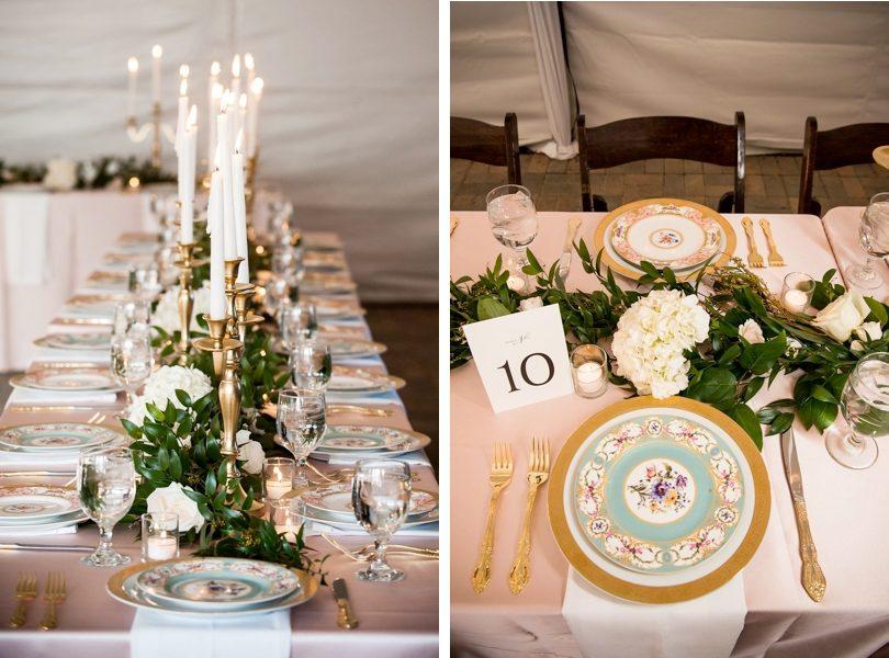 Floral china at wedding reception