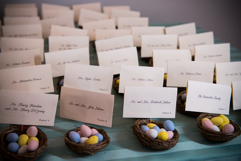 Placecards in candy nests