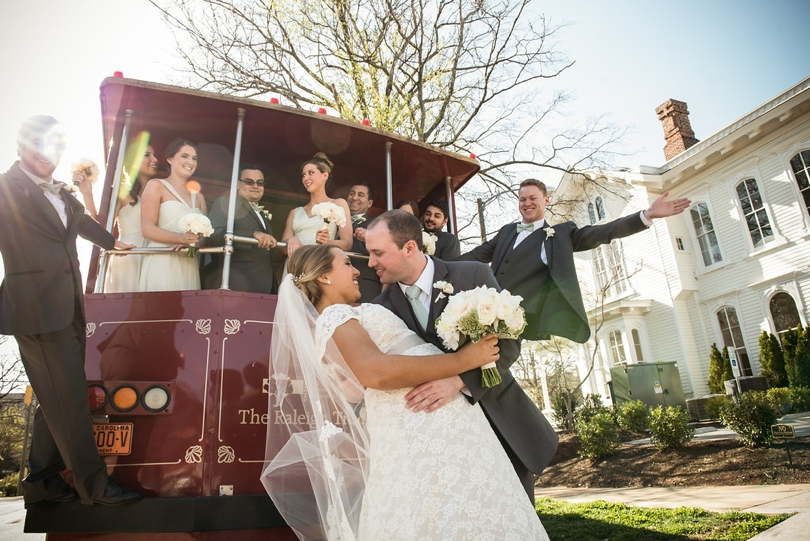 Rent a trolley for Raleigh wedding