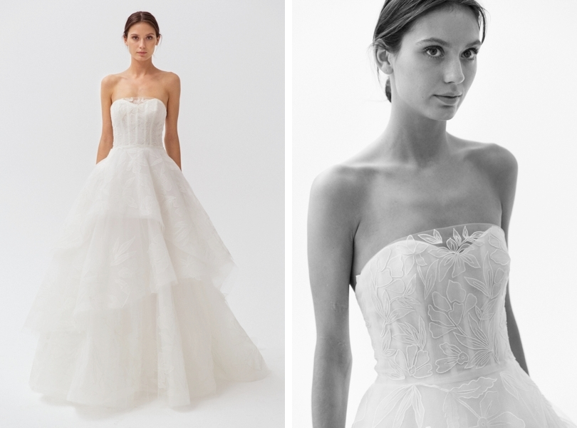 Amsale Quinton wedding gown with floral embroidery