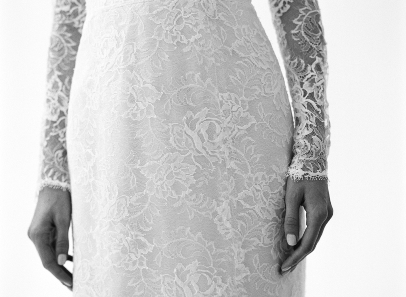 Amsale Tegan wedding gown with lace overlay