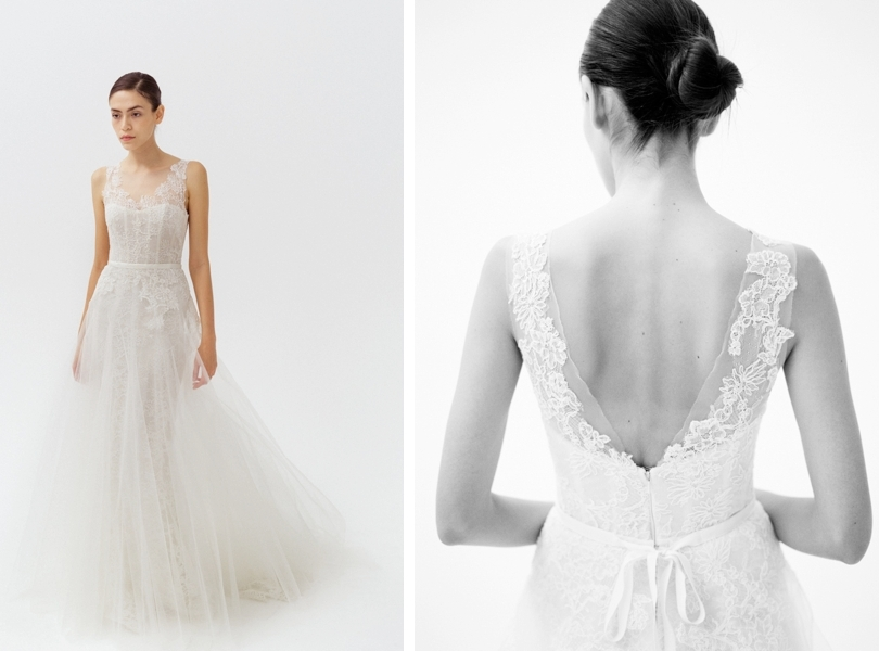 Amsale lace back and top wedding gown
