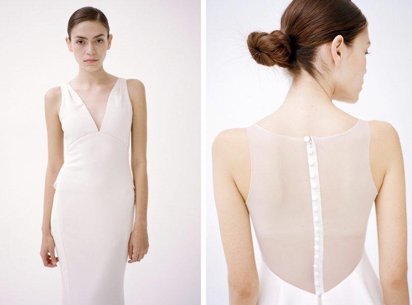 Amsale sheer back button up wedding dress