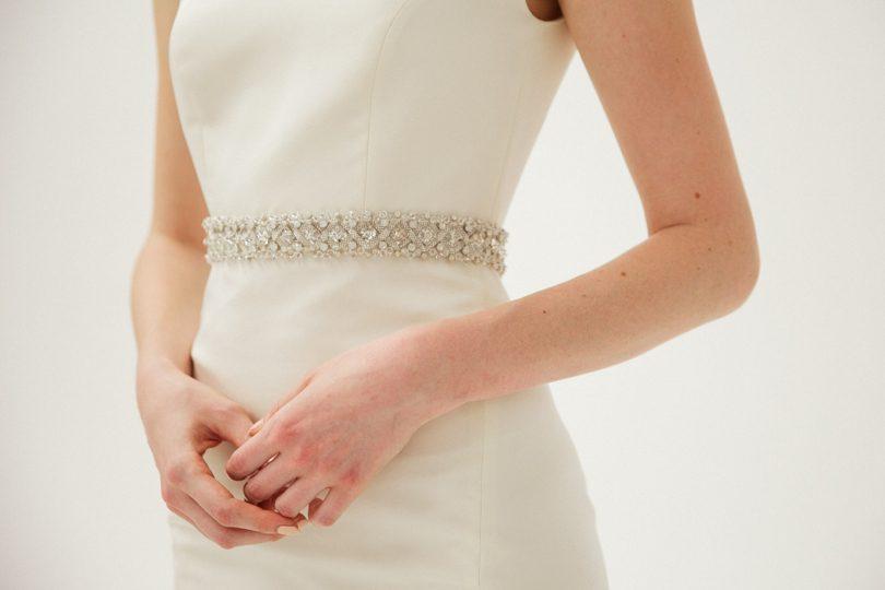 Beaded belt Amsale wedding gown