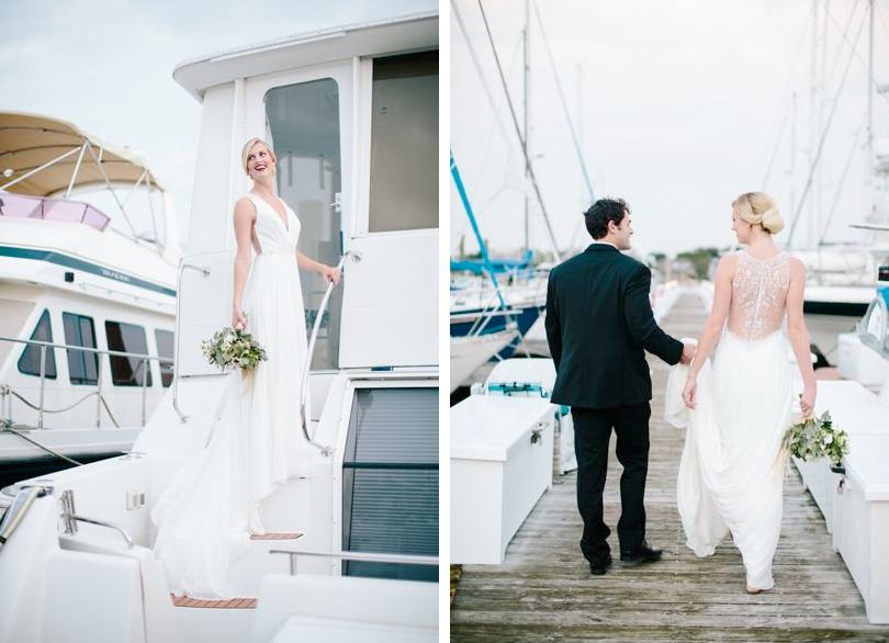 Coastal bride portraits by the water or the dock