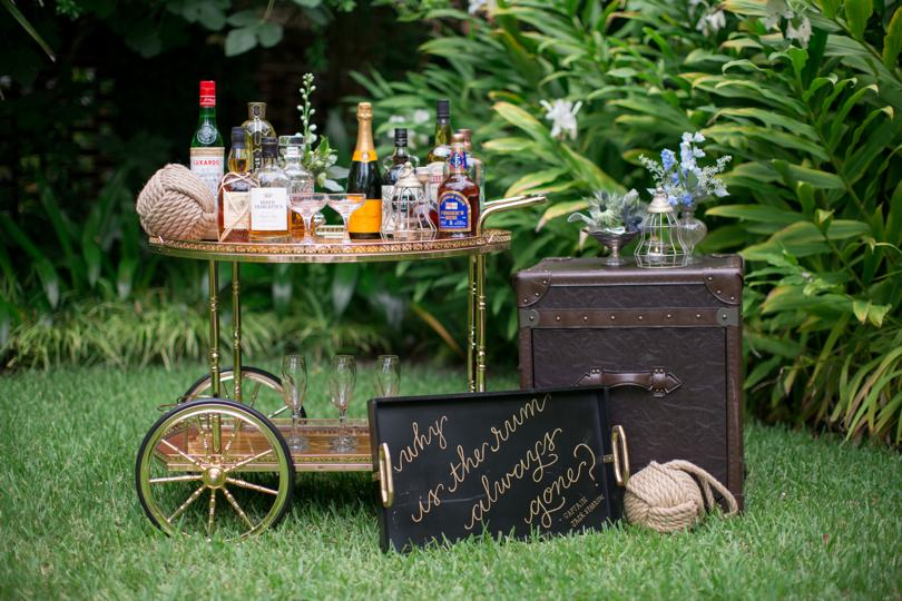 DIY whiskey station for Southern wedding