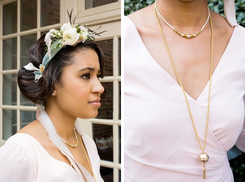 Floral and ribbon headpieces for Raleigh bridesmaids