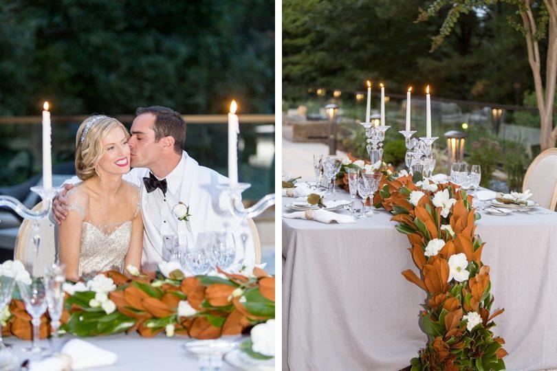 Magnolia leaf garlarnd wedding decor by Eclectic Sage