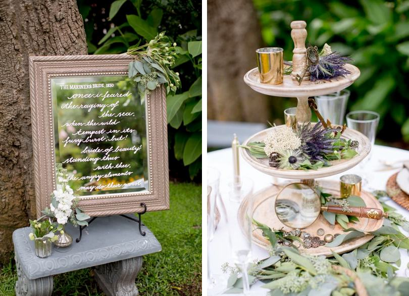 Mirrors with calligraphy used in wedding decor