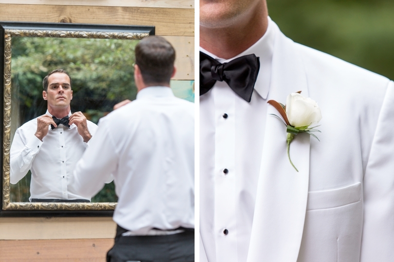 Modern groom wearing white tuxedo and black bow tie